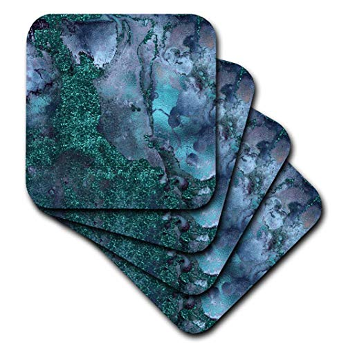 3dRose CST_265468_3 Blue and Teal Ombre Gemstone Ink Glitter Marble Set of 4 Ceramic Tile Coasters (Ink Tiles)