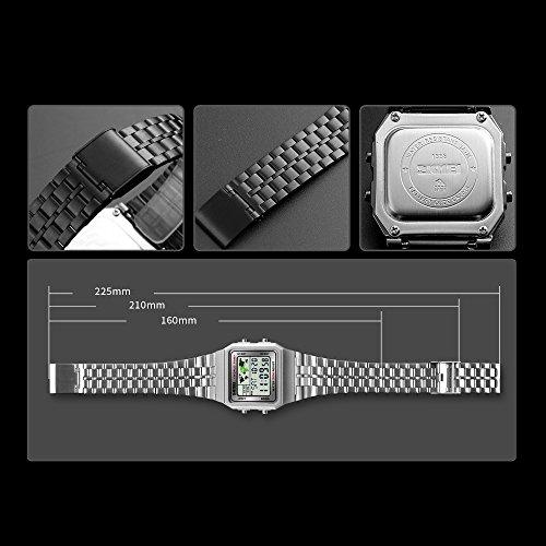 Men's Watch Black Multifunction Steel Belt Wrist Watches Classic Gifts Fashion Waterproof by FIZILI (Image #3)