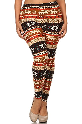 Always Womens Junior Plus Stretch Winter Print Leggings Tan Multi One Size