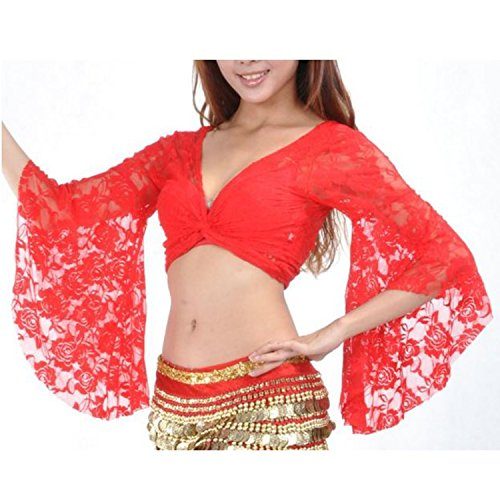 Tribal Belly Dance Lace Butterfly Sleeve Wrap Top Gift Idea Red (Tribal Belly Dancer Costume)