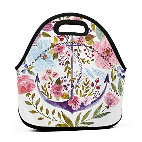 Convenient Lunch Box Tote Bag Watercolor,Nautical Anchor Covered by Flourishing Ivy Blossoms Romance Love Rose Image,Multicolor,lunch bag sets for men