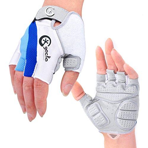 Cgecko Special Wicking Shockproof Mountain Reflex Gel Bike Half Finger Glove Tri-Color Optional Outdoor Sports Gloves Cycling Short Glove (Blue, XXL) ()