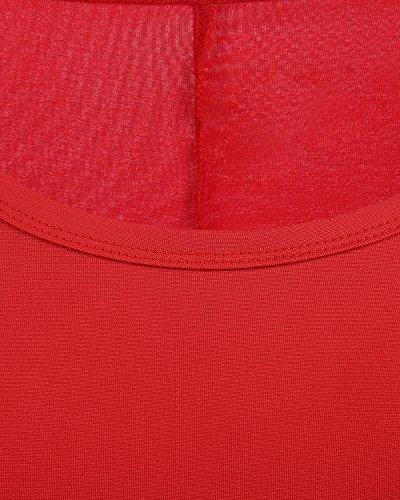 Básico Manga Bbonlinedress Red Casual Larga Camisero Vestido Mujer Corto XaYYq4vwx