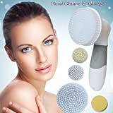 PRO 4 in 1 Skin Care Facial Brush Cleanser and Facial Massager System by Xtech for Exfoliation and Microdermabrasion, Acne, Blackheads and Dead Skin Removal, Revitalizes Skin with Premium Brushes