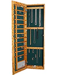Wall Mounted Jewelry Cabinet Recessed Large Key Lock Medium Oak