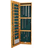 Wall Mounted Jewelry Cabinet Recessed Small Key Lock Natural Maple