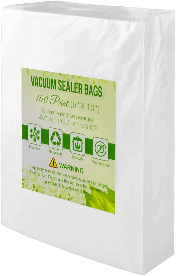 Accenter Vacuum Sealer Bags 100 Quart 6x10 Inch Commercial Grade Food Saver Bags, Seal a Meal, BPA Free, Heavy Duty, Perfect for vac storage, Meal Prep or Sous Vide