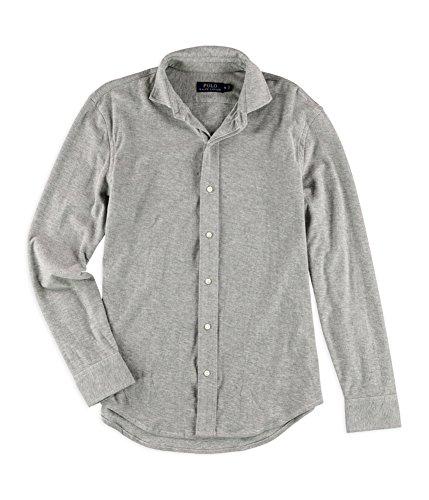(Polo Ralph Lauren Men's Jacquard Long Sleeve Button-Down Shirt, Andover Heather, XL )