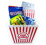 popcorn and butter packets - 2 Popcorn Containers and 4 Small Popcorn Baskets for Kids Reusable With 3 Packets of Act 2 Microwave Butter Popcorn with Candies and LWF Booklet - Perfect for Family Movie Night (w/Sour Patch)
