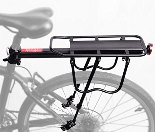 PEXIQAKA Bike Carrier Rack 110 LB Capacity Solid Bearings Universal Adjustable Bicycle Luggage Cargo Rack by PEXIQAKA