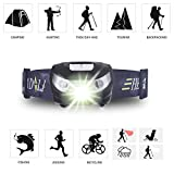 USB Rechargeable LED Headlamp Ticar Very Light Waterproof Light and Comfortable Perfect for Jogging Walking Camping Reading Running for Children and More