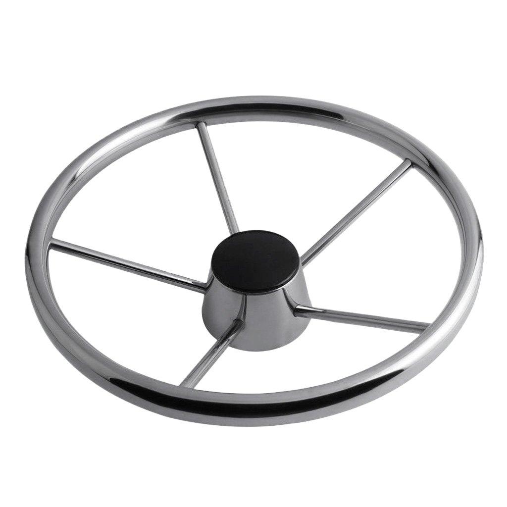 MagiDeal Boat Steering Wheel 304 Stainless Steel 5 Spoke 25 Degree for Marine Yacht