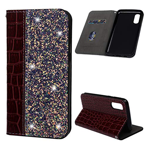 Galaxy A2 Core Wallet Case, Simple Splicing Solid Color Flip Case for Samsung Galaxy A2 Core Leather Cover Protective Case with Stand Magnetic Closure and Inner Silicone Case - Wine red Purple