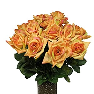 Sunset Orange Diamond Roses Artificial Bouquet, featuring the Stay-In-The-Vase Design(c) Flower Holder (MD1552) 55