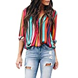 Farjing Blouses for Womens,Clearance Sale Womens Casual Long Sleeve Color Block Stripe Button T Shirts Tops Blouse (L, z-Multicolor)
