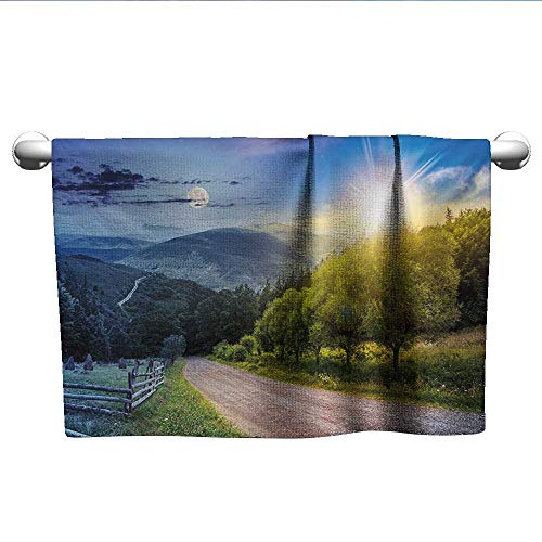 alisoso Farmland,Bath Sheet Contrasting Day and Night Collage View with Moon Sun Horizon Countryside Hillside Dry Fast Towel Green Blue W 24