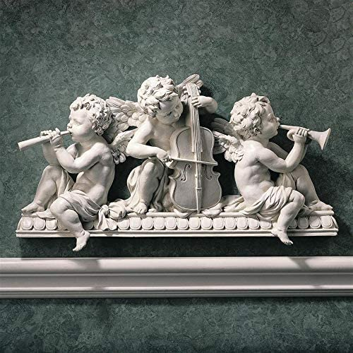 Design Toscano Notes Muscian Angels Sculptural Wall Hanging Pediment