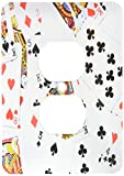 3dRose lsp_112896_6 Scattered Playing Cards Photo for Card Game Players Egg Poker Bridge Games Casino Las Vegas Night 2 Plug Outlet Cover