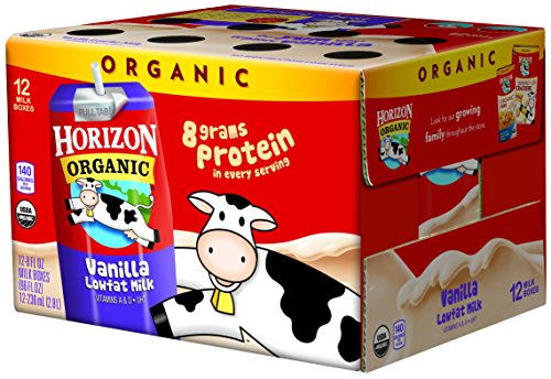 1/2 Gallon Milk - Horizon Organic Low Fat Organic Milk Box, Vanilla, 8 Ounce (Pack of 12)