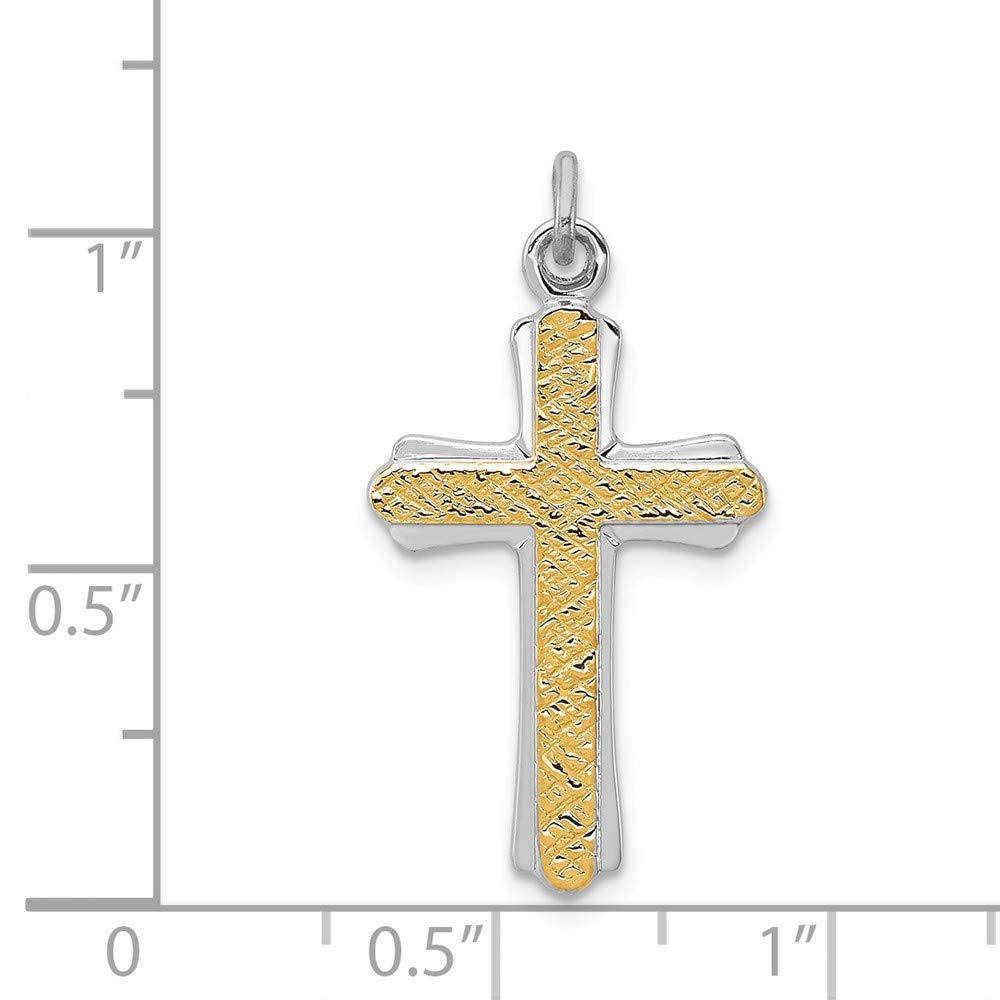 925 Sterling Silver Rhodium-Plated and Gold-plated Cross Charm and Pendant
