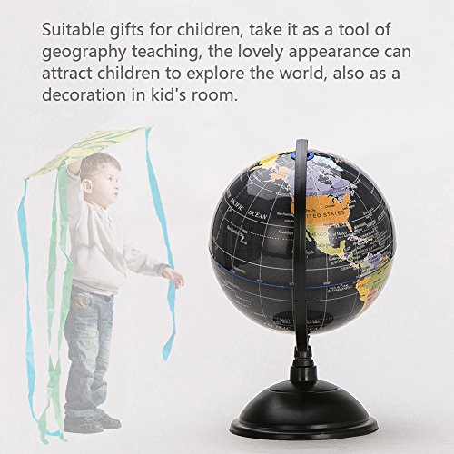 HaloVa World Globe, Desktop 8 inch Spinning Globe with Stand for Kids Students Teachers Geographic Scout Bedroom Decor Educational Gift, Black by HaloVa (Image #4)