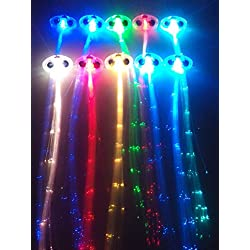 RioRand LED Fiber Optic Lights Up Hair Alternating Multicolor Flash Barrette 10 Piece Clip Braid for New Years Eve Party, 6.4 Ounce