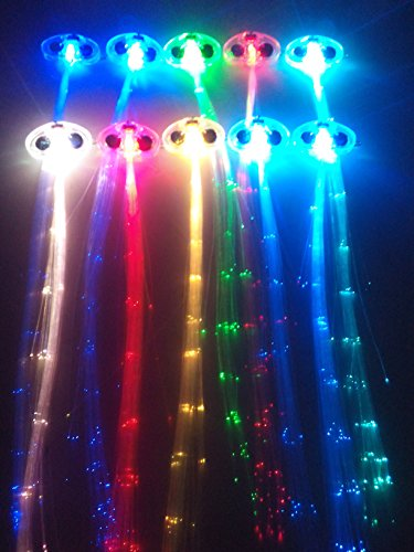 RioRand LED Fiber Optic Lights Up Hair Alternating Multicolor Flash Barrette 10 Piece Clip Braid for New Years Eve Party, 6.4 Ounce ()