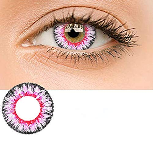 Women Multi-Color Contact Lenses Cosplay Eyes Cute Colored Charm and Attractive Cosmetic Makeup Eye Shadow (Pink)