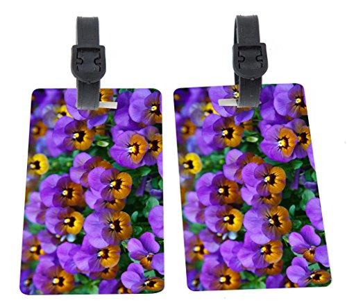 - Purple Pansies Design Plastic Flexi Luggage Identifier Tags + Strap Closure