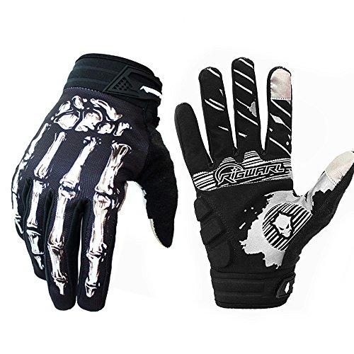 (Brosaur Mountain bike riding gloves gloves riding gloves motorcycle gloves full finger touch screen gloves for men and women exercise skeleton gloves (White, M))