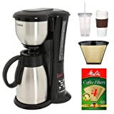 Zojirushi EC-BD15 Fresh Brew Stainless Steel 10-cup Thermal Carafe Coffee Maker with #4 Cone Permanent Coffee Filter, Natural Brown Basket Coffee Filter, #4 - 100 Count, and Coffee Mug & Iced Beverage Cup