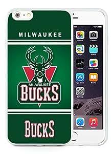 New Custom Design Cover Case For iPhone 6 Plus 5.5 Inch Milwaukee Bucks 10 White Phone Case