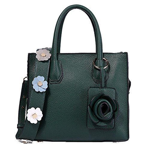 Top Satchel Purse Bag Genuine SUNROLAN Handle Tote Women's Green Handbags Leather Bag Messenger Shoulder TanW5AFnt6