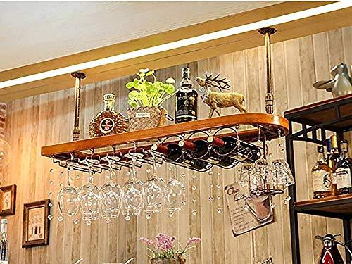 - Wine Rack Hanging Glass,European Solid Wood Crystal Ornaments Goblet Stemware Bottle Storage Ceiling Rack Multifunction Wine Holder for Kitchen Bar -60/80/10028cm(LW)