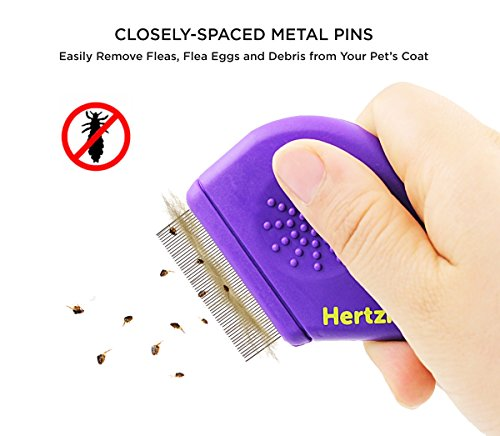 Hertzko Flea Comb By Closely Spaced Metal Pins Removes Fleas, Flea Eggs, And Debris From Your Pet's Coat - 10mm Metal Teeth Are Great For Short Hair Areas - Suitable For Dogs And Cats! by Hertzko (Image #2)