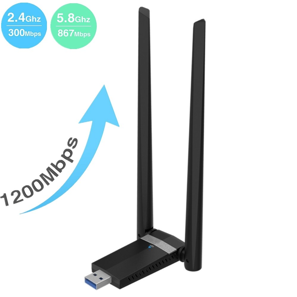 Kyerivs 1200Mbps Wireless USB Wifi Adapter. Long Range 5dBi High-gain Antenna Dual Band WIFI (5GHz 867Mbps/2.4GHz 300Mbps) Supports Windows XP/7/8/10/Mac/Linux