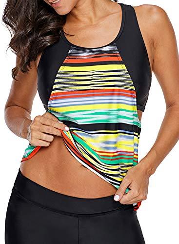 Aleumdr Womens Striped Printed Racerback Strappy Tankini Swim Top No Bottom S - XXXL Multicoloured Small 4 6 -