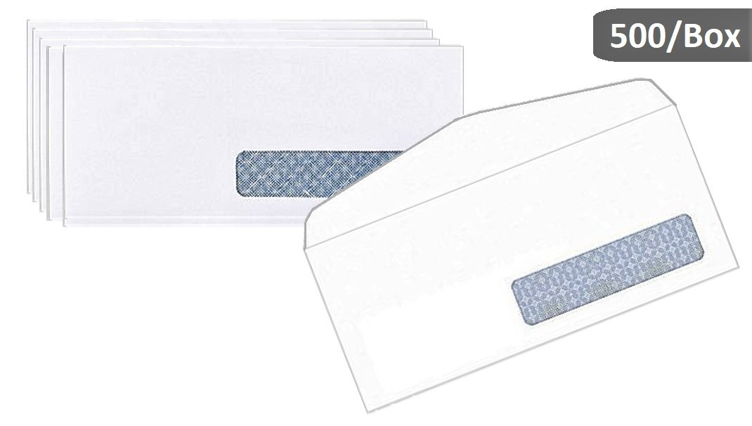 1InTheOffice #10, Right Window Security-Tint Gummed Envelopes, 500/Box