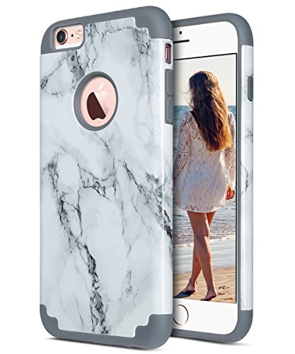 iPhone 6 Plus Case, iPhone 6S Plus Case, ULAK Slim Soft Silicone Skin Hard Back Cover Dual Layer Protective Case Fit for Apple iPhone 6 Plus (2014) / 6S Plus(2015) 5.5 inch -Marble Pattern