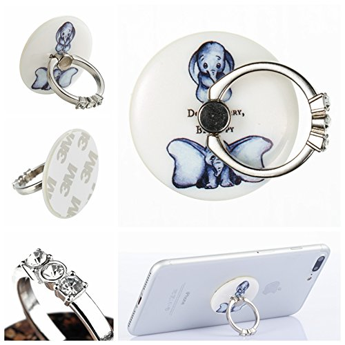 Price comparison product image Jewby Round Cartoon Phone Ring Stand Holder, 360°Rotation Phone Grip kickstand Universal Smartphone Cell Phone Ring for iPhone 8 7 Plus 6S 6 5 5S,Samsung Galaxy ,Tablets and iPads (Elephant)