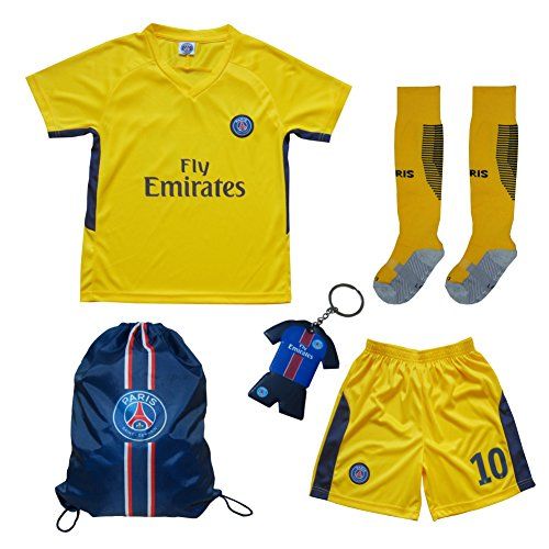 new style d5491 c3b02 2017/2018 PSG Paris Saint Germain Away #10 NEYMAR JR. Football Futbol  Soccer Kids Jersey Shorts Socks Set Youth Sizes