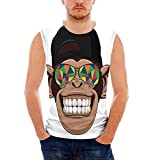 iPrint Mens Workwear Cartoon Decor Sleeveless Midweight T- Shirt,Fun Hipster Monkey wit
