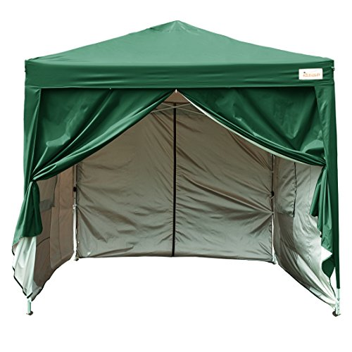 KING BIRD 10 x 10 ft Easy Pop up Canopy Waterproof Party Tent with 4 Removable Walls Mesh Windows & Carry Bag (Green)