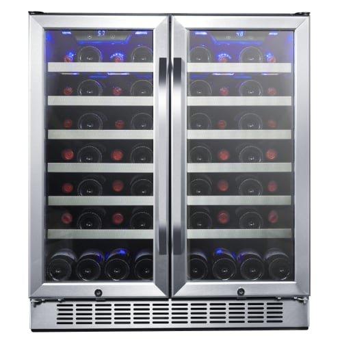 EdgeStar CWR5631FD 30-Inch 56 Bottle Built-In Dual Zone French Door Wine Cooler