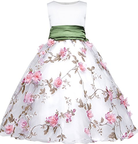 Amberry Little Big Girl's Embroidery Flower-Applique Sash Dress (6, Green) (Embroidery Sash)