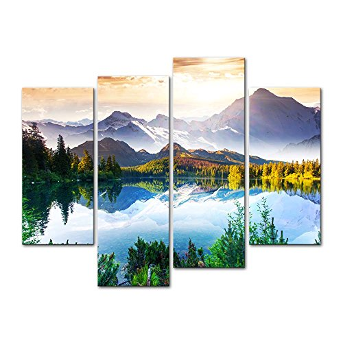 4 Pieces Modern Canvas Painting Wall Art The Picture For Home Decoration Fantastic Sunny Day Is In Mountain Lake Beauty World Landscape Mountain&Lake Print On Canvas Giclee Artwork For Wall Decor