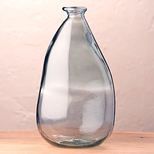 Smoky Blue Oblong Recycled Glass Balloon Vase, 14'' by Vivaterra