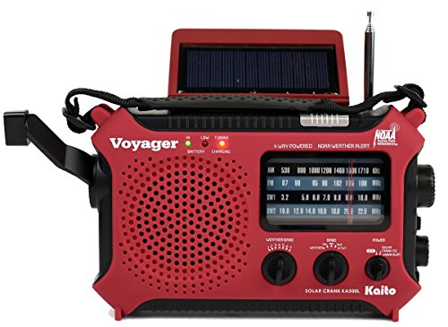 Kaito KA500L 4-Way Powered Emergency AM/FM/SW NOAA Weather Alert Radio with Solar,Dynamo Crank,Flashlight and Reading Lamp, with Larger Battery and Solar Panel, 5 Colors