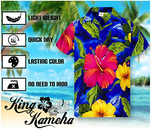 King Kameha Chemise Hawaïenne pour Homme Funky Casual Button Down Very Loud Courtes Unisex Big Flower