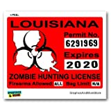 Louisiana LA Zombie Hunting License Permit Red - Biohazard Response Team - Window Bumper Locker Sticker
